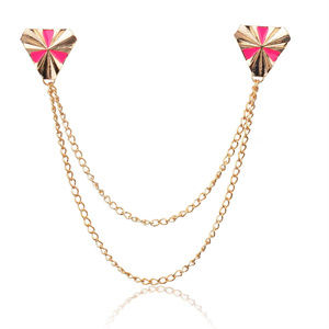 Beautiful Triangle Collar Tips & Chain  2- Colors
